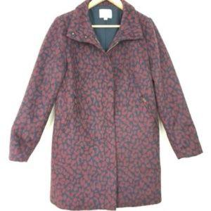 LOFT maroon and navy leopard jacquard coat